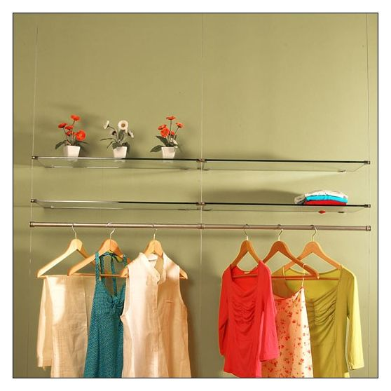 Ceiling to Floor Cable System with Wall Mounted Shelves