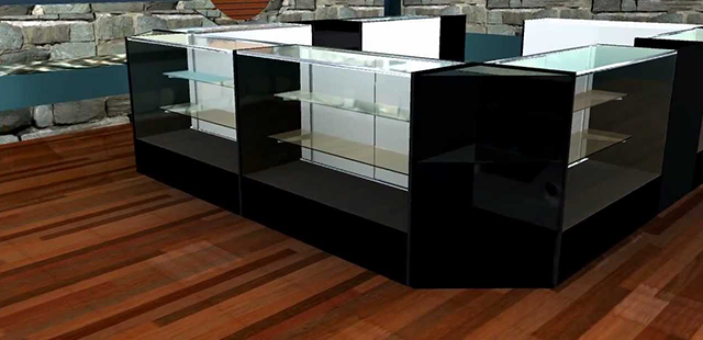 Standard Glass Showcases and jewelry display cases in half view to full and extra vision series, perfect for a retail environment. Wide Variety and Excellent Quality from Creative Store Solutions.