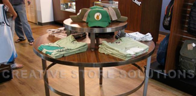 Wood Retail Display Tables ~ Metal wood retail display tables custom store displays