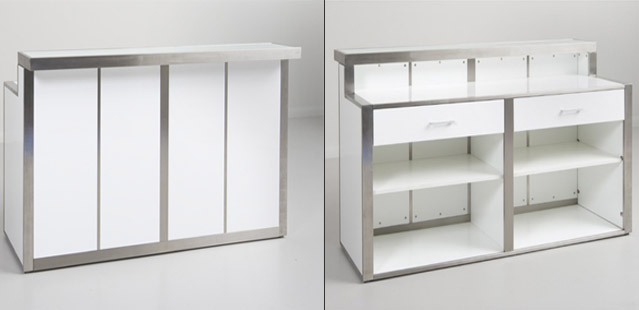 Modern White Gloss Counters Brushed Metal Retail