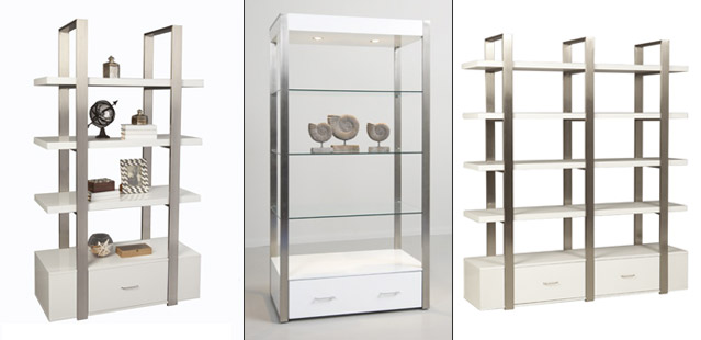 Modern Wall Units and Etageres, Tables & Counters perfect for a retail environment. Wide Variety and Excellent Quality from Creative Store Solutions.
