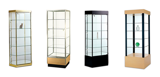 Glass Tower Pedestal Showcases, Jewelry Showcases & Value-line Tower Showcases, perfect for a retail environment. Wide Variety and Excellent Quality from Creative Store Solutions.