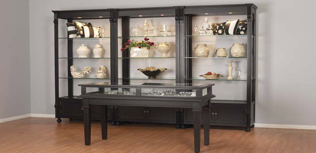 European Style Painted Display Cases, Jewelry Cases and Counters perfect for a retail environment. Wide Variety and Excellent Quality from Creative Store Solutions.