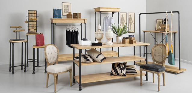 Rustic Etageres, Tables & Racks perfect for a retail environment. Wide Variety and Excellent Quality from Creative Store Solutions.
