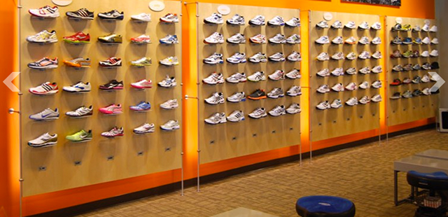 Shoe wall display shoe display panel shoe display strips for Sneaker wall display