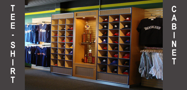 Custom Wall Cabinet 4: Double Hat Display With Center Cabinet Wall U0026 Sports  Themed Trim.