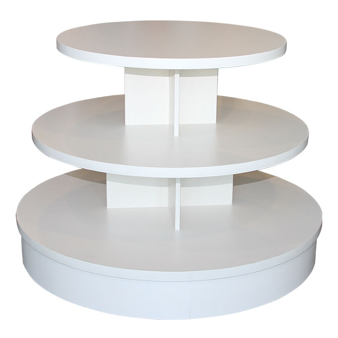 Three Tier Round Display Table | White Store Table   Creative Store  Solutions