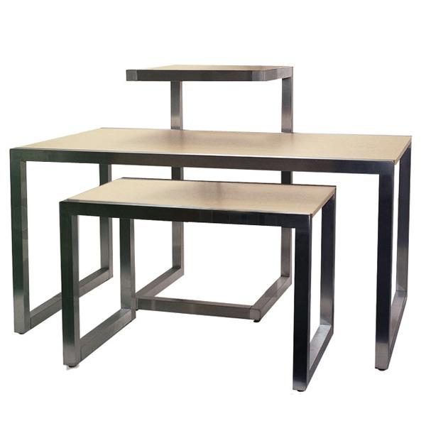 Alta system nesting display tables satin chrome