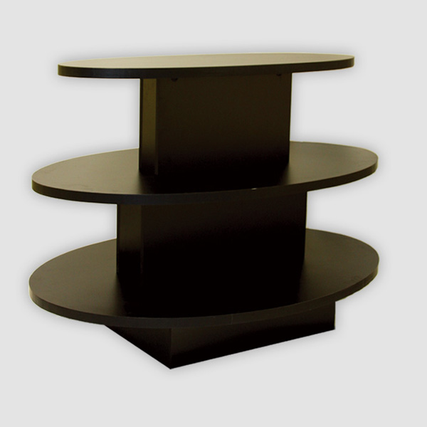 three tier oval display table waterfall store table creative store solutions. Black Bedroom Furniture Sets. Home Design Ideas