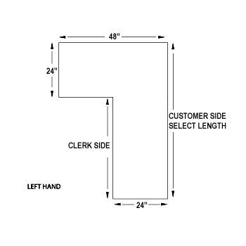 Left Side L Shaped Counter Retail Checkout Counter