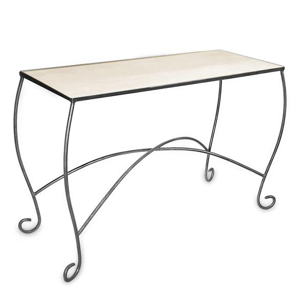 Gentil Raw Steel Scroll Leg Table
