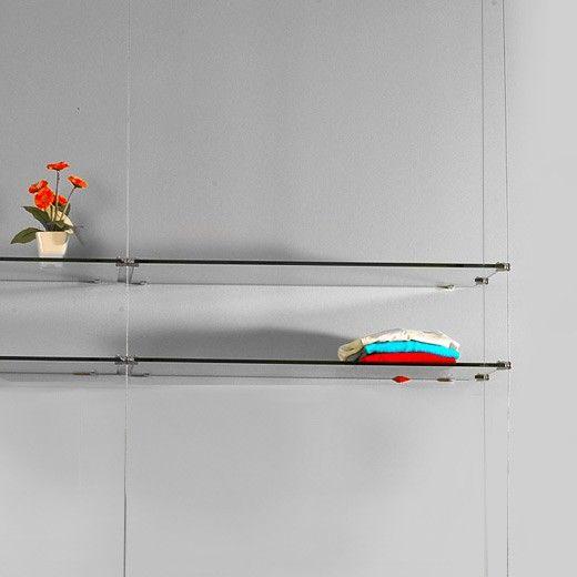 ceiling to floor cable base kit 3 glass shelves. Black Bedroom Furniture Sets. Home Design Ideas