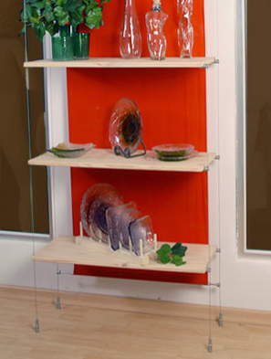 Cable For Cable Suspended Wood Shelves Creative Store Solutions