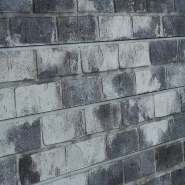 Gray Old Painted Brick Slatwall Panel Textured Brick