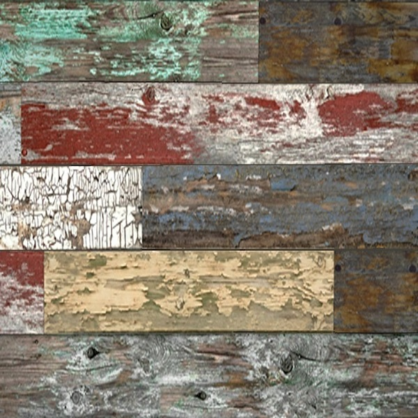 Mixed Old Painted Wood Slatwall Panel Red Pealing Paint Textured