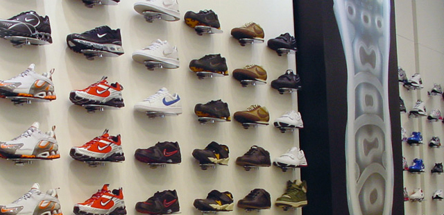 Shoe wall displays creative store solutions for Sneaker wall display