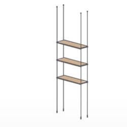 Ceiling Amp Floor Cable Wood Shelving Kit 3 Shelves