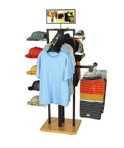 4 Way Apparel Display Wood Clothing Rack Bamboo