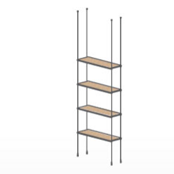 Good Floor To Ceiling Cable Kit For 4 Wood Shelves