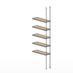 ceiling floor cable wood extension shelving kit 5. Black Bedroom Furniture Sets. Home Design Ideas