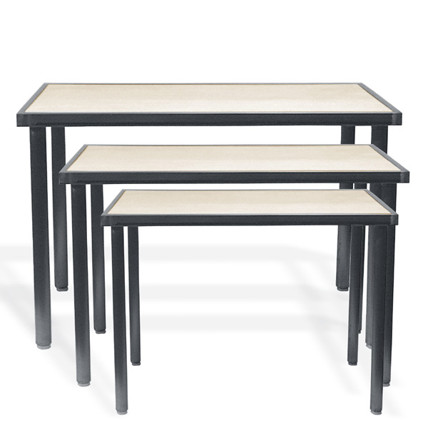 Raw Steel Nesting Display Tables Metal Presentation Tier