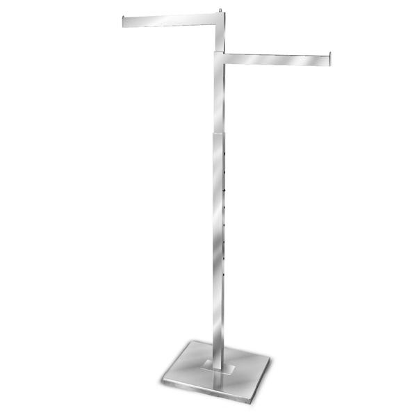 Chrome 2 Way Clothing Rack Apparel Display Stand