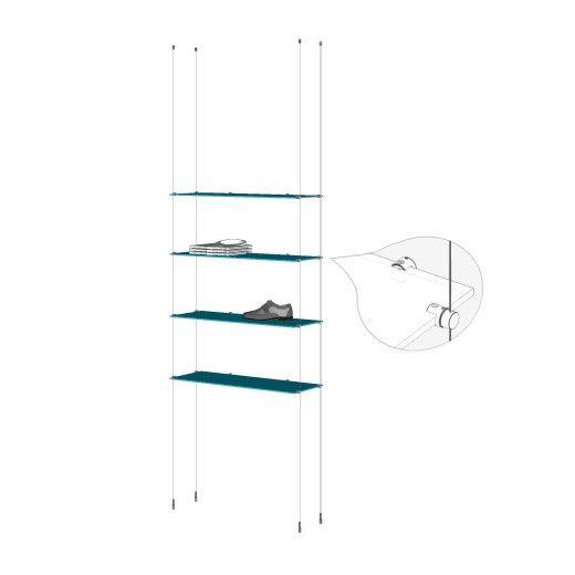 ceiling to floor cable base kit 4 glass shelves. Black Bedroom Furniture Sets. Home Design Ideas