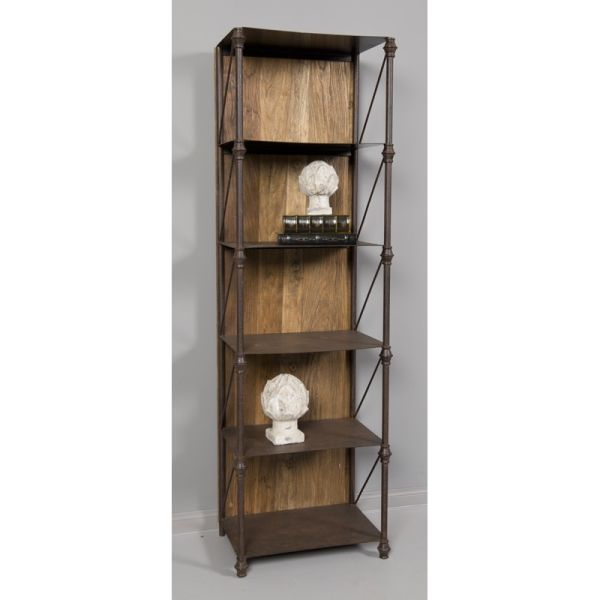 Loft Reclaimed Elmwood Metal Shelf With Wood Backing