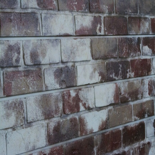 Red Old Painted Brick Slatwall Panel