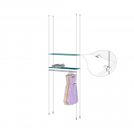 Ceiling to Floor Cable Base Kit with Hangrail for 2 Glass Shelves
