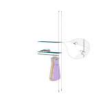 Ceiling to Floor Cable Extension Kit with Hangrail for 2 Glass Shelves