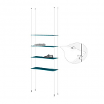 Ceiling to Floor Cable Base Kit for 4 Glass Shelves