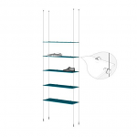 Ceiling to Floor Cable Base Kit for 5 Glass Shelves