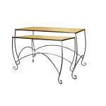 Raw Steel Scroll Leg Nesting Tables