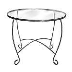 Raw Steel Round Scroll Leg Table
