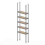 Floor to Ceiling Cable Kit for 5 Wood Shelves