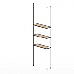 Floor to Ceiling Cable Kit for 3 Wood Shelves