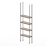 Floor to Ceiling Cable Kit for 4 Wood Shelves